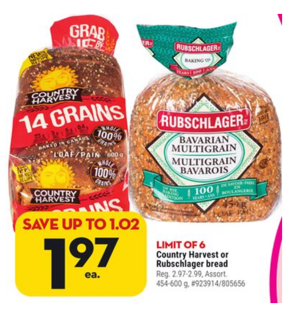 Price of a loaf of bread at Giant Tiger (25 March 2020 flyer) - $1.97 for 600g